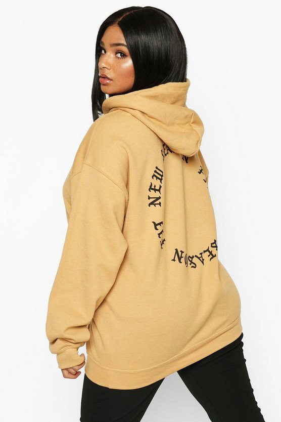 Plus New Season Fit Back Slogan Hooded Sweat