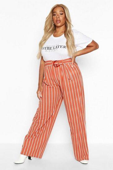 Womens Terracotta Plus Tie Belted Stripe Wide Leg Trouser