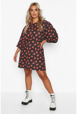 Womens Black Plus Rose Polka Dot Puff Sleeve Shift Dress