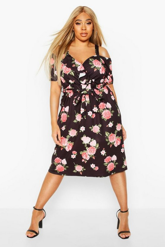Black Plus Floral Plunge Ruffle Belt Midi Dress