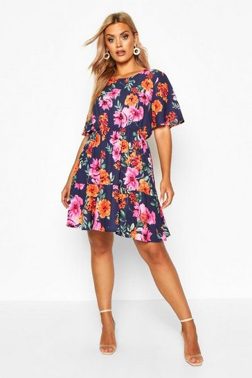 Womens Navy Plus Tiered Woven Floral Smock Dress