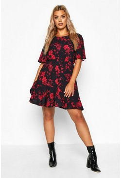 Black Plus Tiered Woven Smock Dress