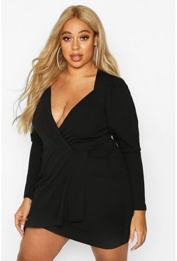 Womens Black Plus Draped Sleeve Wrap Dress