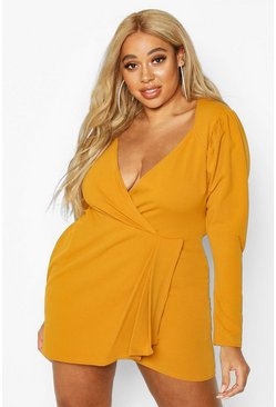Mustard Plus Draped Sleeve Wrap Dress