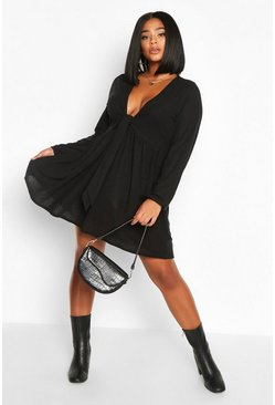 Black Plus tie Front Rib Long Sleeve Smock Dress