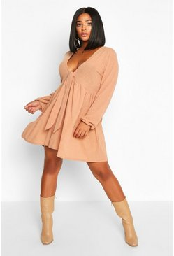 Womens Tan Plus tie Front Rib Long Sleeve Smock Dress