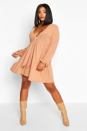 Tan Plus tie Front Rib Long Sleeve Smock Dress