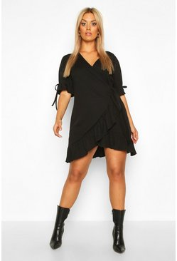 Womens Black Plus Soft Rib Ruffle Skater Dress