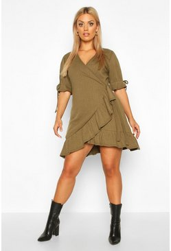 Womens Khaki Plus Soft Rib Ruffle Skater Dress