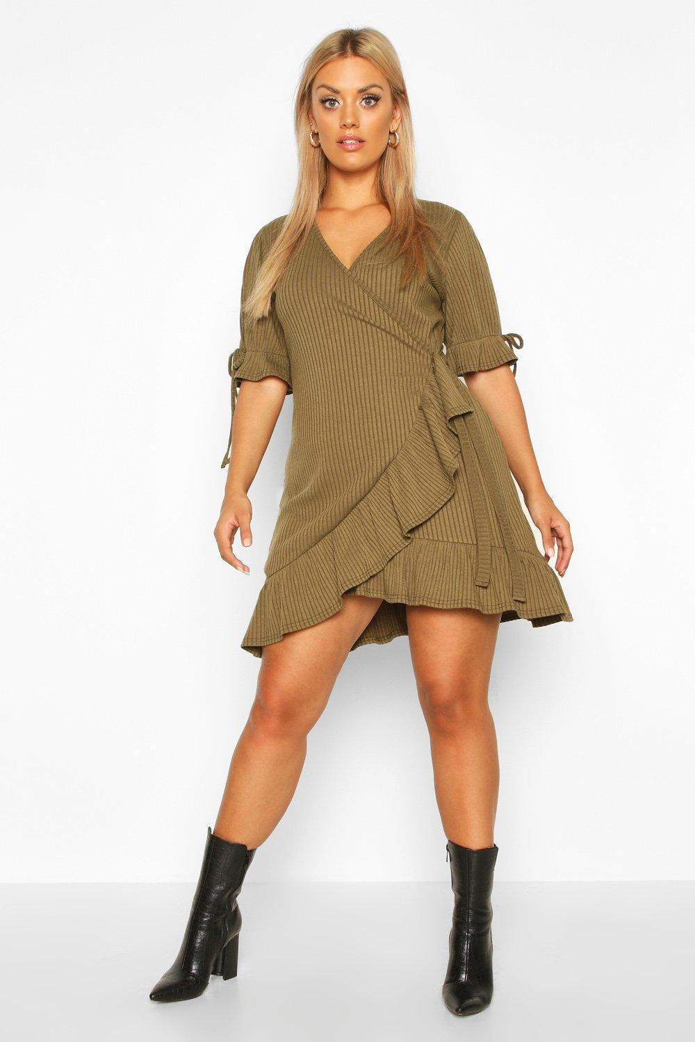 Plus Soft Rib Ruffle Skater Dress by Boohoo