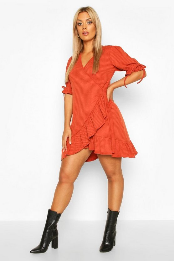 Womens Terracotta Plus Soft Rib Ruffle Skater Dress