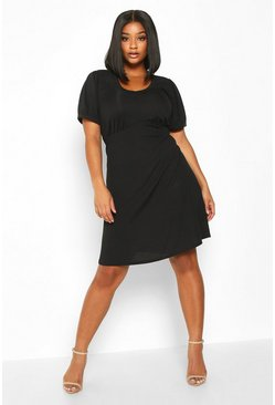 Black Plus Ribbed Scoop Neck Puff Sleeve Swing Dress