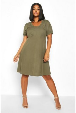 Womens Khaki Plus Ribbed Scoop Neck Puff Sleeve Swing Dress
