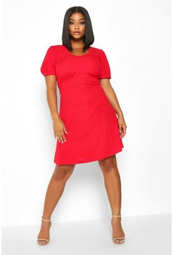 Womens Red Plus Ribbed Scoop Neck Puff Sleeve Swing Dress