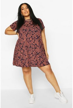 Navy Plus Cap Sleeve Paisley Swing Dress