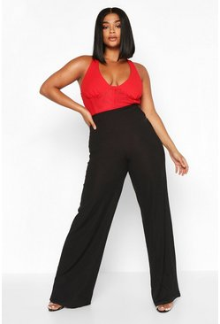 Womens Black Plus High Waisted Rib Wide Leg Trouser