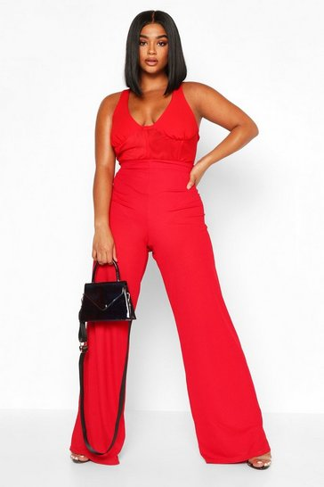 Womens Red Plus High Waisted Rib Wide Leg Trouser