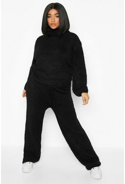Womens Black Plus Soft Knit Wide Leg Trouser