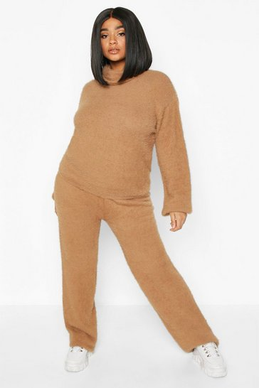 Camel Plus Soft Knit Wide Leg Trouser