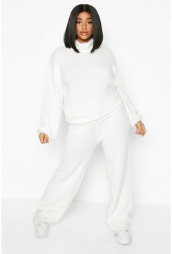 Womens Ivory Plus Soft Knit Wide Leg Trouser