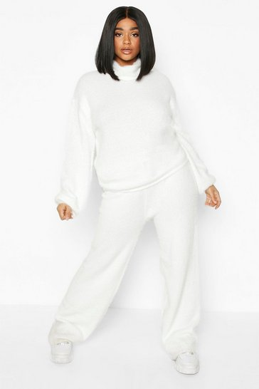 Ivory Plus Soft Knit Wide Leg Trouser