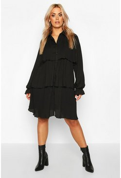 Black Plus Pleated Shirt Style Smock Dress
