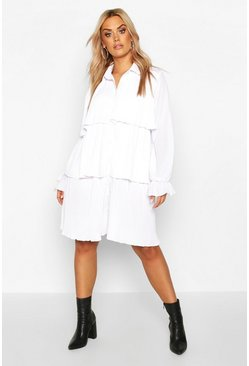 White Plus Pleated Shirt Style Smock Dress