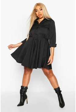 Womens Black Plus Full Skirted Shirt Dress