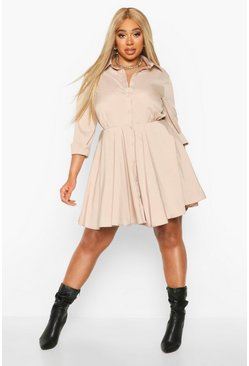 Stone Plus Full Skirted Shirt Dress