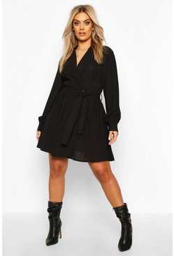 Black Plus Blazer Wrap Skater Dress