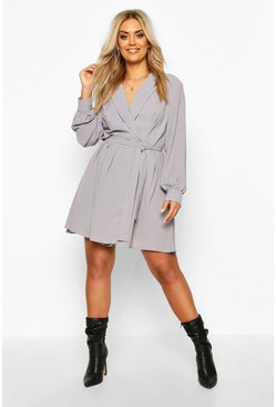 Grey Plus Blazer Wrap Skater Dress