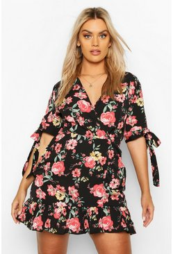 Womens Black Plus Floral Ruffle Wrap Dress