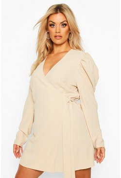 Cream Plus Wrap Dress With Puff Detail