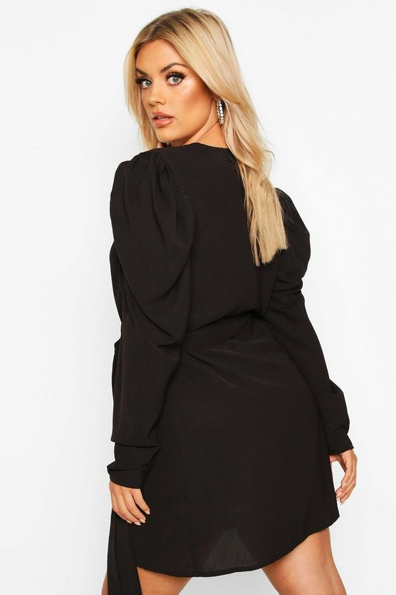 Plus Wrap Dress With Puff Detail