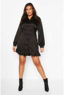 Womens Black Plus Ruffle Hem Shirt Dress
