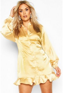 Mustard Plus Ruffle Hem Shirt Dress