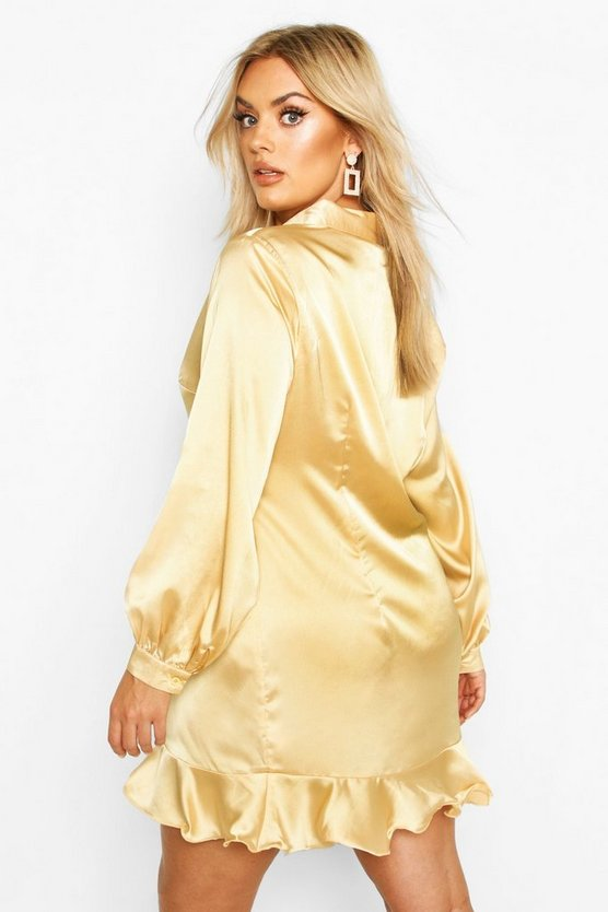 Plus Ruffle Hem Shirt Dress