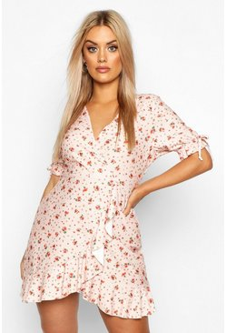 Womens Blush Ditsy Floral Wrap Ruffle Tea Dress