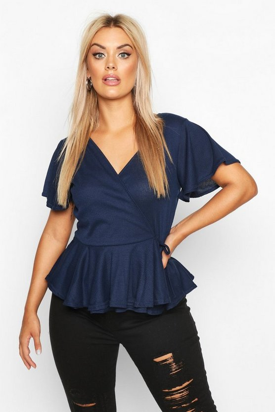 Womens Navy Plus Rib Wrap Cap Sleeve Peplum Top