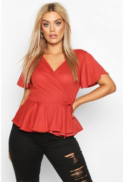 Terracotta Plus Rib Wrap Cap Sleeve Peplum Top