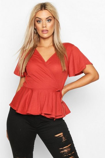 Womens Terracotta Plus Rib Wrap Cap Sleeve Peplum Top