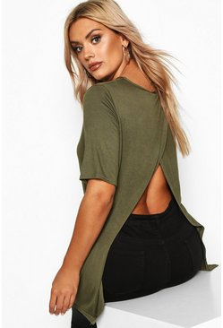 Womens Khaki Plus Jersey Split Open Back T-Shirt
