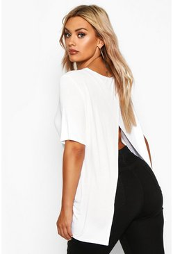 White Plus Jersey Split Open Back T-Shirt
