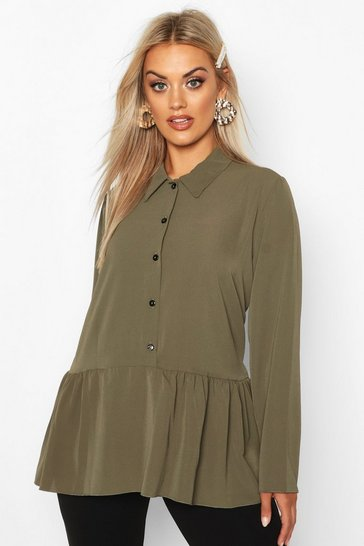 Womens Khaki Plus Peplum Hem Shirt