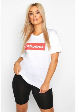 White Plus Fabulous Slogan T-Shirt