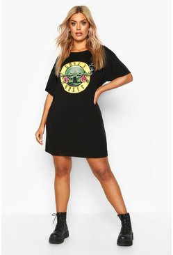 Womens Black Plus Guns N Roses License T-Shirt Dress