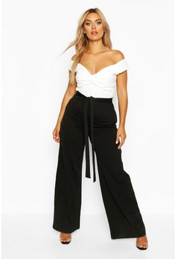 Womens Black Plus Scuba Off Shoulder Knot Front Jumpsuit