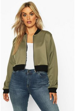 Khaki Plus Cropped Bomber Jacket