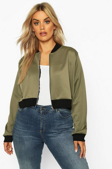 3239a994e Plus Size & Curve. Womens Khaki Plus Cropped Bomber Jacket