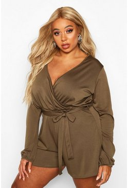 Womens Khaki Plus Wrap Self Belt Floaty Playsuit